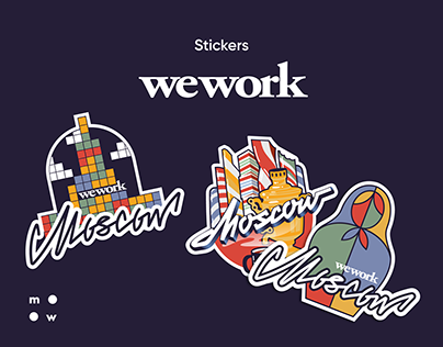 WeWork / sticker logos of Moscow
