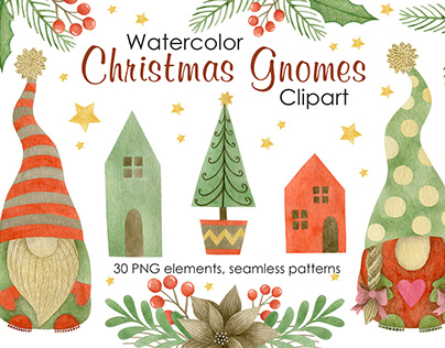 Christmas Gnomes Watercolor Set