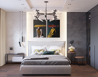 Design of the bedroom for young couple