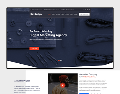 Free Corporate Landing Page UI