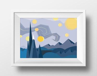 Van Gogh's Starry Night (Vector Illustration)