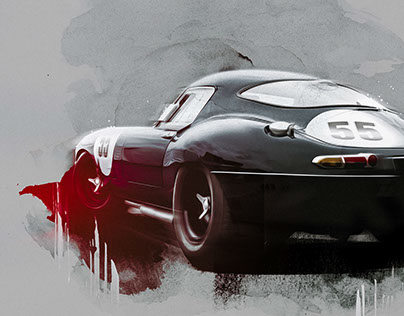 Jaguar E-Type Lightweight - Digital Art Painting