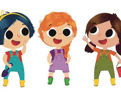 Girl in Overalls Character Design Concepts