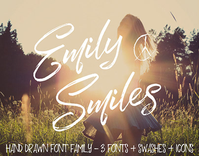 EMILY SMILES - FREE HAND DRAWN BRUSH FONT