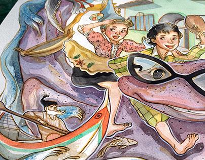 Illustration for children programm Praia dos Pescadores
