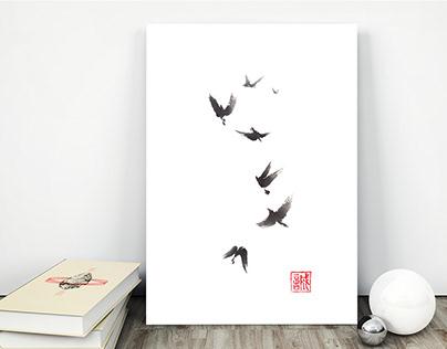 Black pennant sumi-e painting
