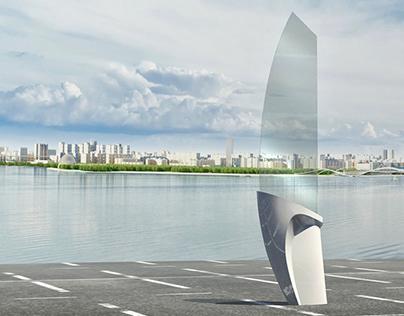 Эскизы форм навигационных носителей для Лахта-центра