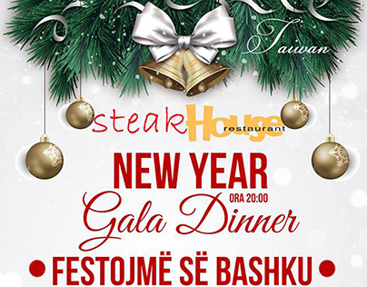 Outdoor Advert. Gala Diner New Year STEAK HOSE