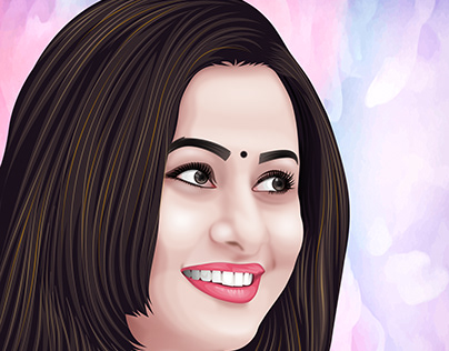 A beautiful soft vector portrait related work