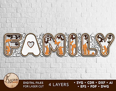 Multilayer Cut File FAMILY – Laser Cut Words