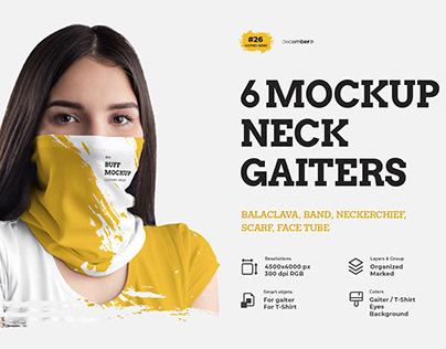 6 Mockups Neck Gaiters + 1 Free
