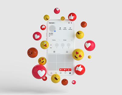 3D smartphone and emojies instagram mockup Free Psd