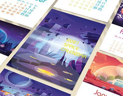 Children space calendar for 2021