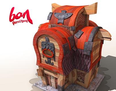 Viking House 3d Modeling