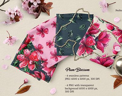 Plum Blossom Watercolor Flowers Art