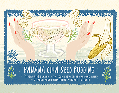 Digital Food Illustration - Banana Chia Seed Pudding