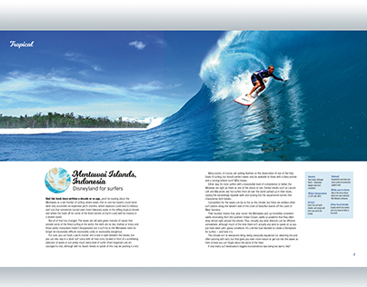 Book Design - spread from 'Ultimate Surf Adventures
