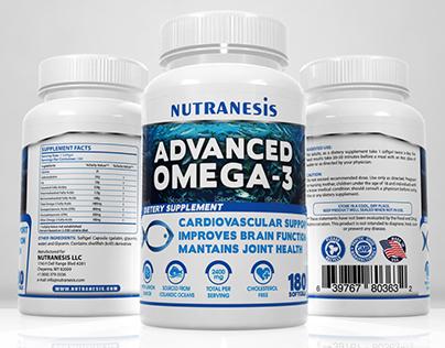 Omega 3 - Label and 3D Render