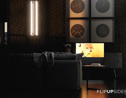 FLIP UP SIDEBOARD TV