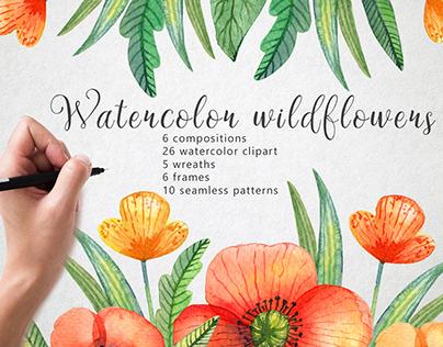 Wild watercolor flowers