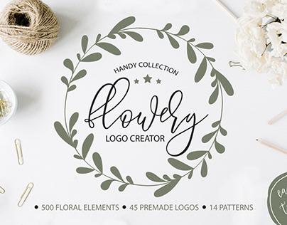 Flowery Logo Creator. Floral elements