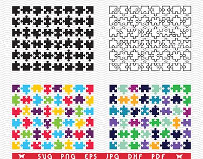 Puzzles, separate parts, Digital clipart