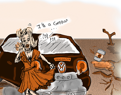 "Subvertising/ illustration ""Volkswagen CO2 emissions"""