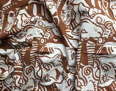 Silkscreen Lion Fabric