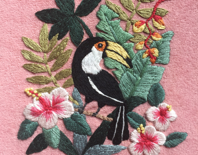 Toucan Hand Embroidery