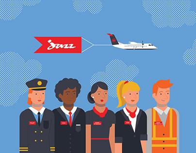 FlyJazz airline storyboard