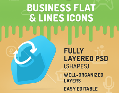 40 business flat icons set