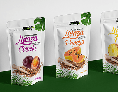 Packaging desing and branding, linseed with fruits