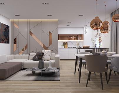 Modern design of a three-room apartment