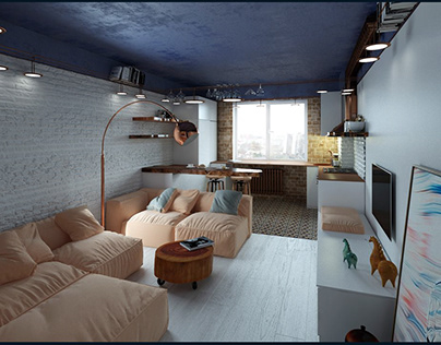 Apartment for a girl. Loft style. Kiev.