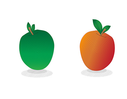 Green and red apple. Engraving.