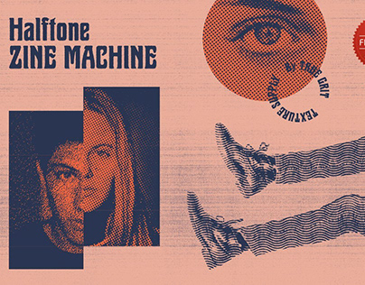 Halftone Zine Machine PSD + Action