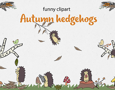 Autumn hedgehogs. Funny clipart.
