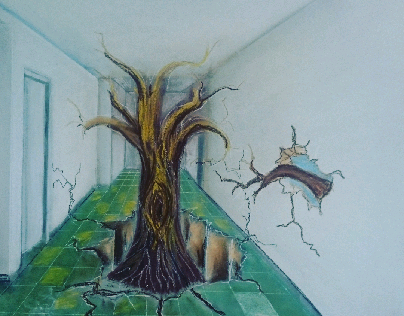 internal from imagination (pastel drawing)