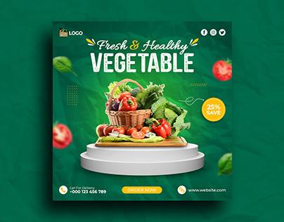 Fresh & Healthy vegetable Social media post Banner