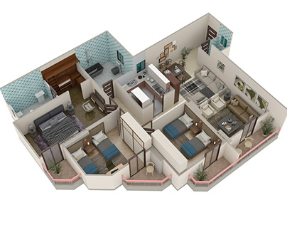 Apartment 3D plan design