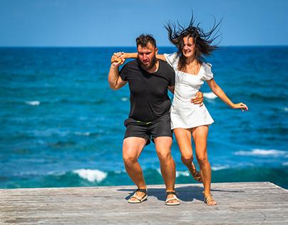 Dancing at the seaside in Paphos.