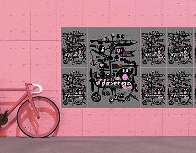 Affiche: transports et personnages