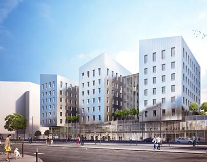 Perspective 3D - Immeubles de bureaux, Metz, France