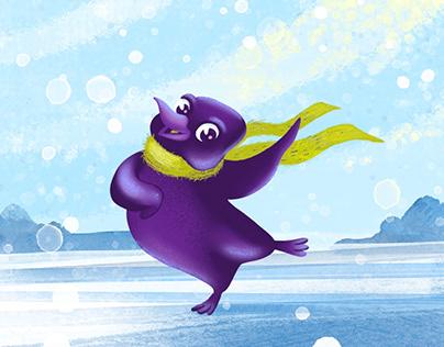 Purple penguin character