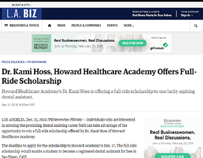 Dr. Kami Hoss, Howard Healthcare Academy Offers Full-Ri