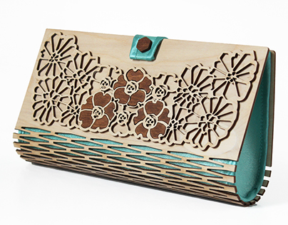 Wooden / silk clutch