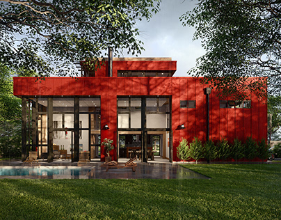 3D Visualization: Red Industrial House rainy afternoon
