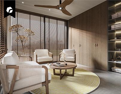 HH_ COZY BATHHOUSE interior design at north Lithuanian
