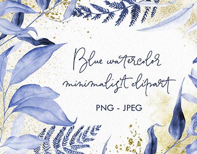 Blue watercolor minimalist clipart