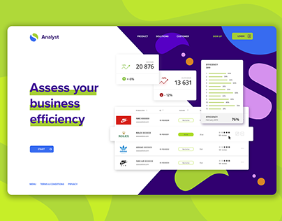 """Landing Page """"Assess your business efficiency"""""""